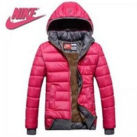 Nike Trending Casual  Women Rose Red Hoodie Winter Long Sleeve Zipper Coat Jacket Windbreaker