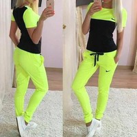 Nike Fashion Short Sleeve Sport Gym Set Two-Piece Sweatpants Sweatshirt-1
