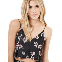 Floral V-neck Spaghetti Strap Cropped Top