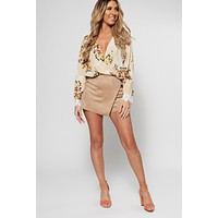Humble Request Surplice Floral Top (Stone)
