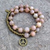 Independence and Joy, Sunstone 27 Bead Mala Wrap Bracelet