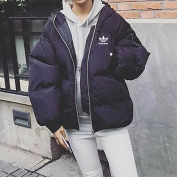 """""""Adidas"""" Women Simple Fashion Zip Cardigan Hooded Long Sleeve Cotton-padded Clothes Bread Service Jacket Coat"""