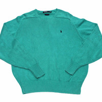 Vintage Polo by Ralph Lauren Teal Sweater Mens Size Large