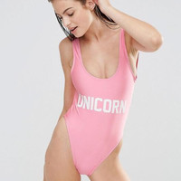FESTIVAL UNICORN New fashion letters print one piece bikini show thin pink vest