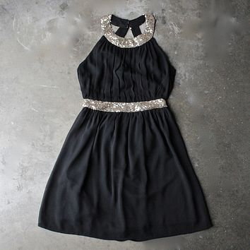 Stepping Out Pleated Halter Dress With Gold Sequin in Black