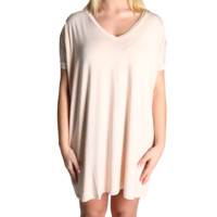 Cream Piko Tunic V-Neck Short Sleeve Dress