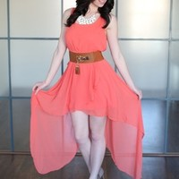 Dixie Chick High Low Belted Dress Coral