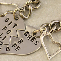 Bitches for Life Keychain - BFF Gift, Best Bitches Split Heart Key Chain - Hand Stamped Best Friend Keychains - Stainless Steel