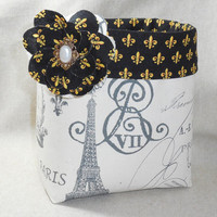 Lovely French Inspired Fabric Basket With Fleur-de-lis lining and Detachable Fabric Flower Pin