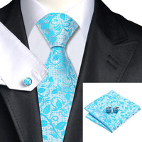 Silk Jacquard Tie Silver Light Blue Floral Necktie Set Ties For Men