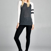 Classic Style Heathered Knit Top