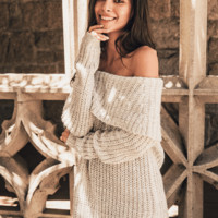 Off the Shoulder Cable Sweater Tunic Top