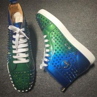 DCCK Cl Christian Louboutin Louis Spikes Style #1855 Sneakers Fashion Shoes