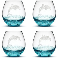Bubble Wine Glasses with Tribal Dolphin, Set of 4, Hand Etched