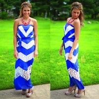 Jaded Chevron Maxi in Royal Blue