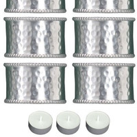 Park Design 945-75S Pewter Hammered Cuff Napkin Rings Set of 6 with 6-Pack of Tea Candles
