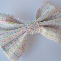 Large fabric bow - womens tweed bow - girls hair clip - Trendy hair accessories - Rockabilly hair clips - Classic tuxedo bow