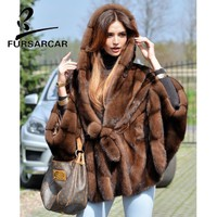 FURSARCAR Women Real Fur Coat New Fashion Bat Sleeved Thick Warm Mink Fur Coat With Hood Winter Luxury Female Mink Fur Jacket