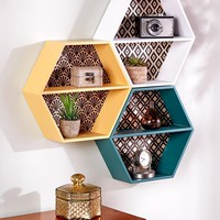 Wall Shelf Honeycomb Retro Vintage Look White, Yellow or Teal Decorative Storage