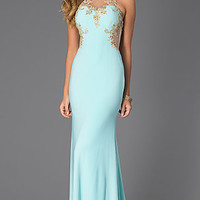 Floor Length Sleeveless Lace Embellished Dress