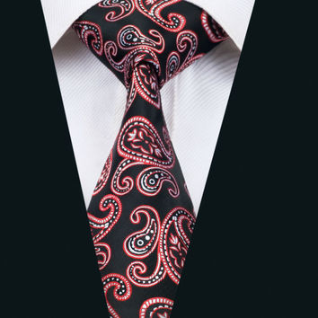 New Arrival Fashion Men`s Tie Red Paisley Necktie Silk Jacquard Ties For Men Business Wedding Party