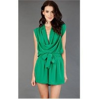 12M032 Green Drape Neck Utility Romper and Womens Fashion Clothing  Shoes - Make Me Chic