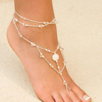 Foot Jewelry - White, Made of Crystals, Glass Beads, Freshwater Pearls - Island Importer