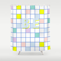 Be Windowpane Grid Shower Curtain by Vasare Nar