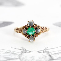 Victorian Moonstone Ring, Antique 10k Rose Gold Moonstone Orb & Synthetic Emerald, Bohemian Statement Alternative Engagement Ring