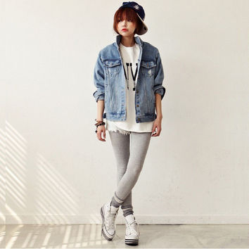 Women Distressed Rip Denim Jacket Cropped Button Coat Jean Top Washed Faded Blue outwear