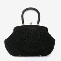 Vintage cotton handbag black purse women black knitted accessory bag soviet cotton shoulder bag gift for woman cotton travel bag
