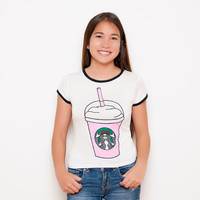 Frappuccino Shirt - Frappuccino - White Shirt - Ringer Tee - Coffee Shirt - Teen Fashion - Tumblr Shirt