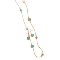"""58"""" Gold Tone Mint Endless Style Fashion Necklace and Earring Set"""