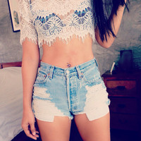 Hipster festival clothing levi High wasited shorts distressed ripped jeans 90s Vintage Boho