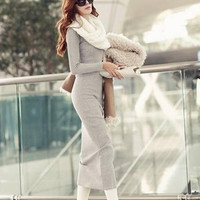 New 2017 Large Size XXXL Casual maxi Dress Vestidos Winter Women Sweater long robe sexy Dress Women ukraine vestido de festa
