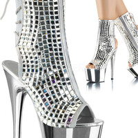 Stripper Ankle Boots With Mirror Top And Chrome Platform