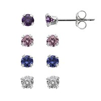 Charming Girl Sterling Silver Stud Earring Set - Made with Swarovski Cubic Zirconia - Kids (White)