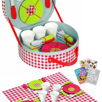 Janod 06524 Picnic Hamper Set with Coloring Book