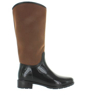 Kixters Cougar - Dark Brown Shiny Rubber/Caramel Nylon Tall Rain Boot