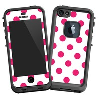 "Raspberry Polka Dot on White ""Protective Decal Skin"" for LifeProof fre iPhone 5/5s Case"