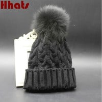 Which in shower faux fur pom pom knitted cable winter hat for women fur pompom female beanies brand warm lady girl skullies cap