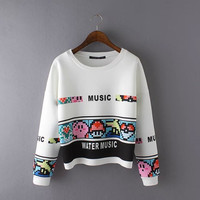 White Letter number Cartoon Print Sweater