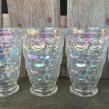 7 vintage Thumbprint Iridescent 9 oz footed tumblers, vintage rainbow tumblers glasses, 1960 iridescent glasses by Federal Glass, bar cart