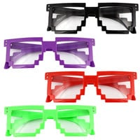 8 Bit Pixel Retro Sunglasses Glasses Geek Nerd Super Computer Video Game Mario