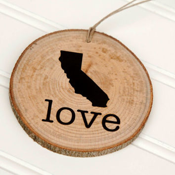 California Love state shape Maple wood slice ornaments - Set of 4.  Wedding favor, Bridal Shower, Country Chic, Rustic, Valentine Gift