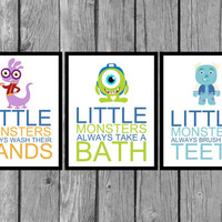 "Children's Bathroom Artwork/Set of 3/8""x10""/Monster's Inc/boys decor"