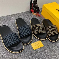 FENDI new men and women couple slippers fashion casual trend one word Shoes