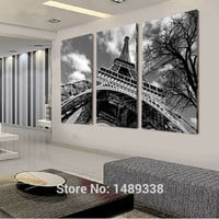 Free shipping canvas painting wall pictures 3panel wall art The Eiffel Tower canvas art home decor Modern Huge Pictures T/510