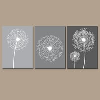 DANDELION Wall Art Flower Artwork Charcoal Gray Tones Custom Colors Modern Nursery Set of 3 Prints Decor Bedroom Bathroom Dorm Three