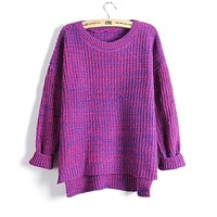 Asymmetric Split Scoop Pullover Loose Short Sweater
